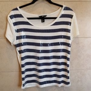 H&M sequins striped Top